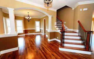 hardwood floor entryway and dining room