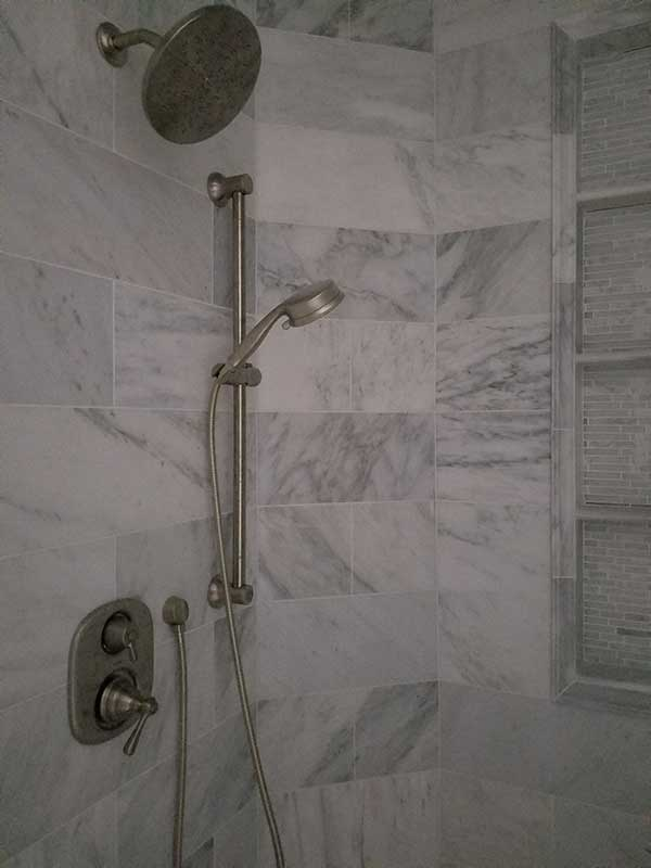 Master Bathroom with Carrarra Marble