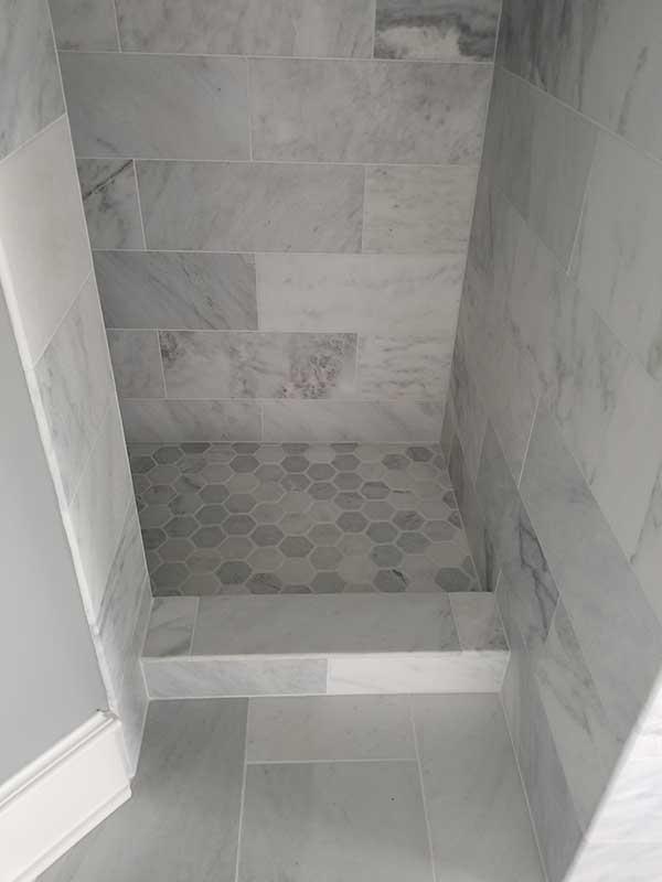 Master Bathroom with Carrarra Marble