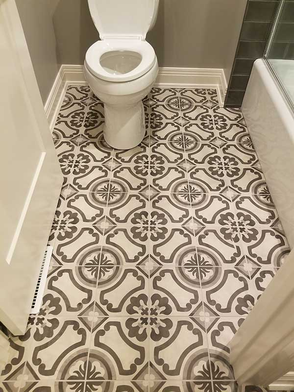 Porcelain Printed Tile Flooring in Bathroom