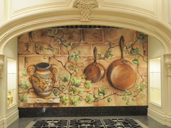 Custom Painted Mural Kitchen Backsplash