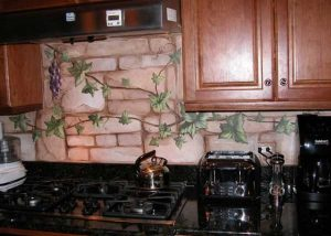 Custom Painted Mural on Kitchen Backsplash