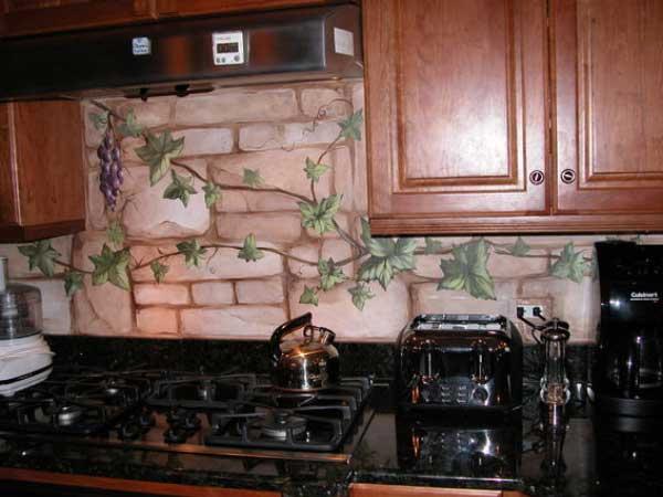 Custom Painted Mural on Kitchen Backsplash