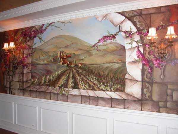 Hand Painted Mural in Dining Room Area
