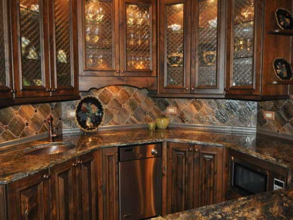 Custom Cut Porcelain Tile Backsplash
