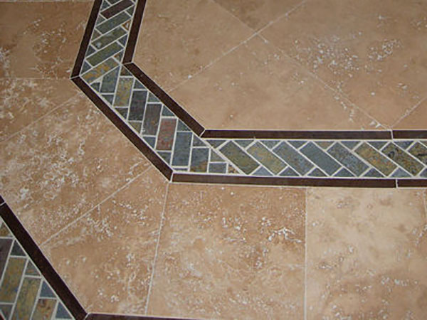 Marble Tile With Slate Mosaic