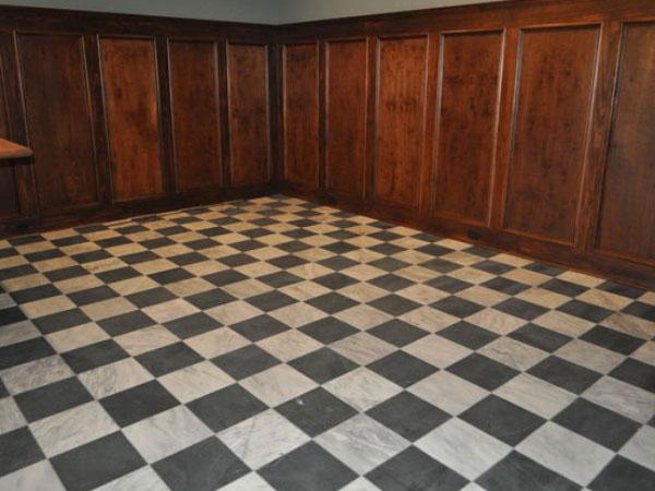 Basement floor tile installation Art Z