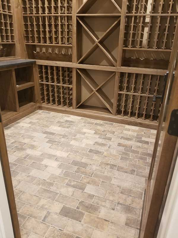 Wine Cellar Tile Floor Installation
